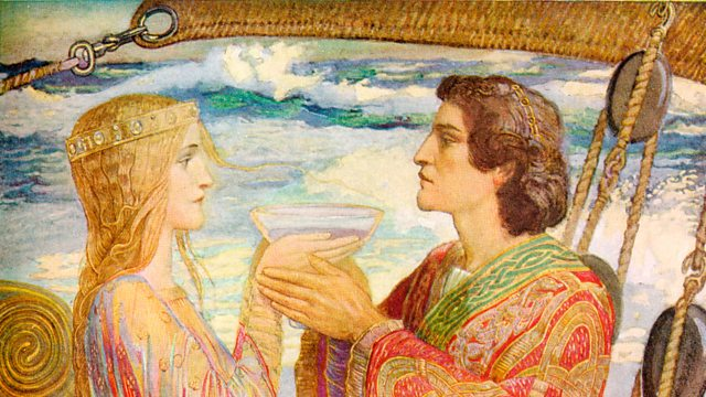 Tristan and Isolde drink together, not knowing it is a love potion.